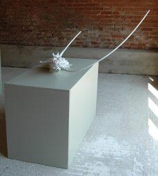 Devil. Sculpture in chestnut, linen, copper wire and copper leaf. H70cm x W85cm x D65cm.