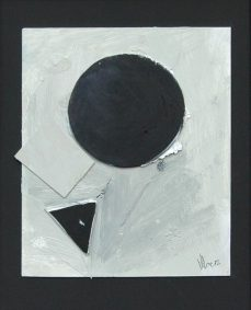 Fallen mixed media drawing: acrylic, card and graphite on board. H29cm x W24cm.