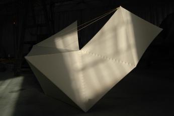 Cepheid by Victoria Burton-Davey. Beech, aircraft linen, wire, wax. H3.5m W4.2m D4m